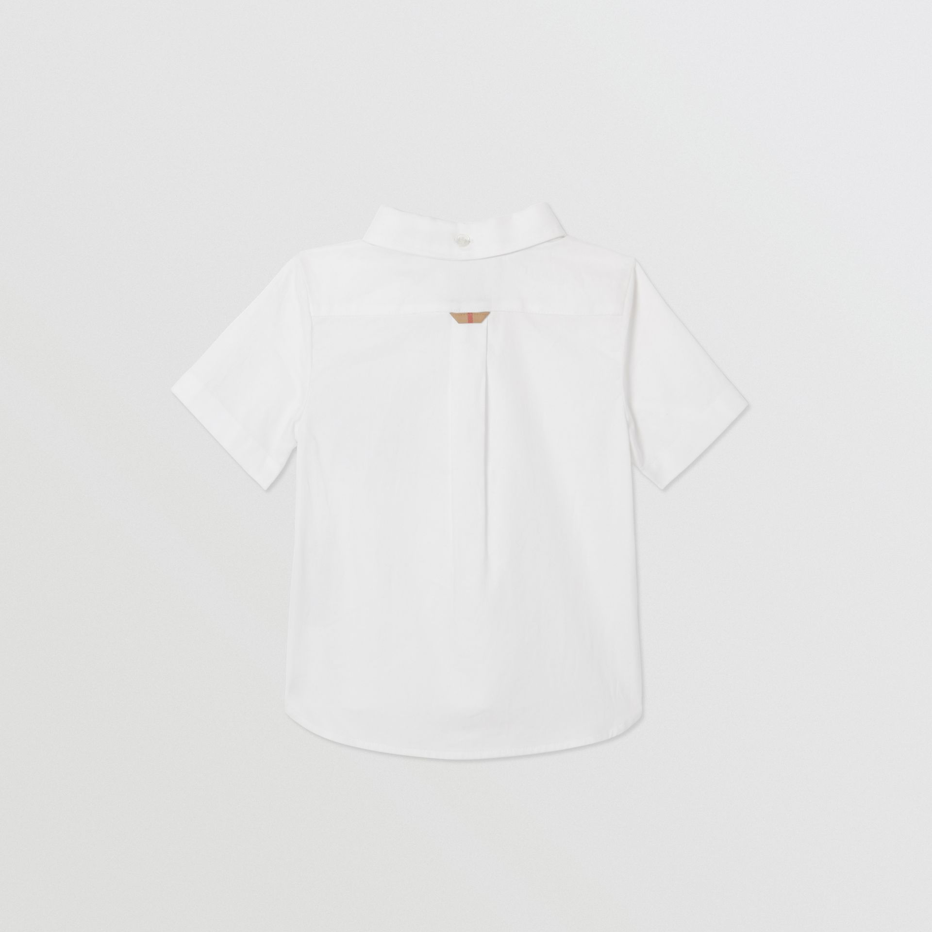 Short-sleeve Vintage Check Detail Cotton Oxford Shirt in White - Children | Burberry United Kingdom - gallery image 3