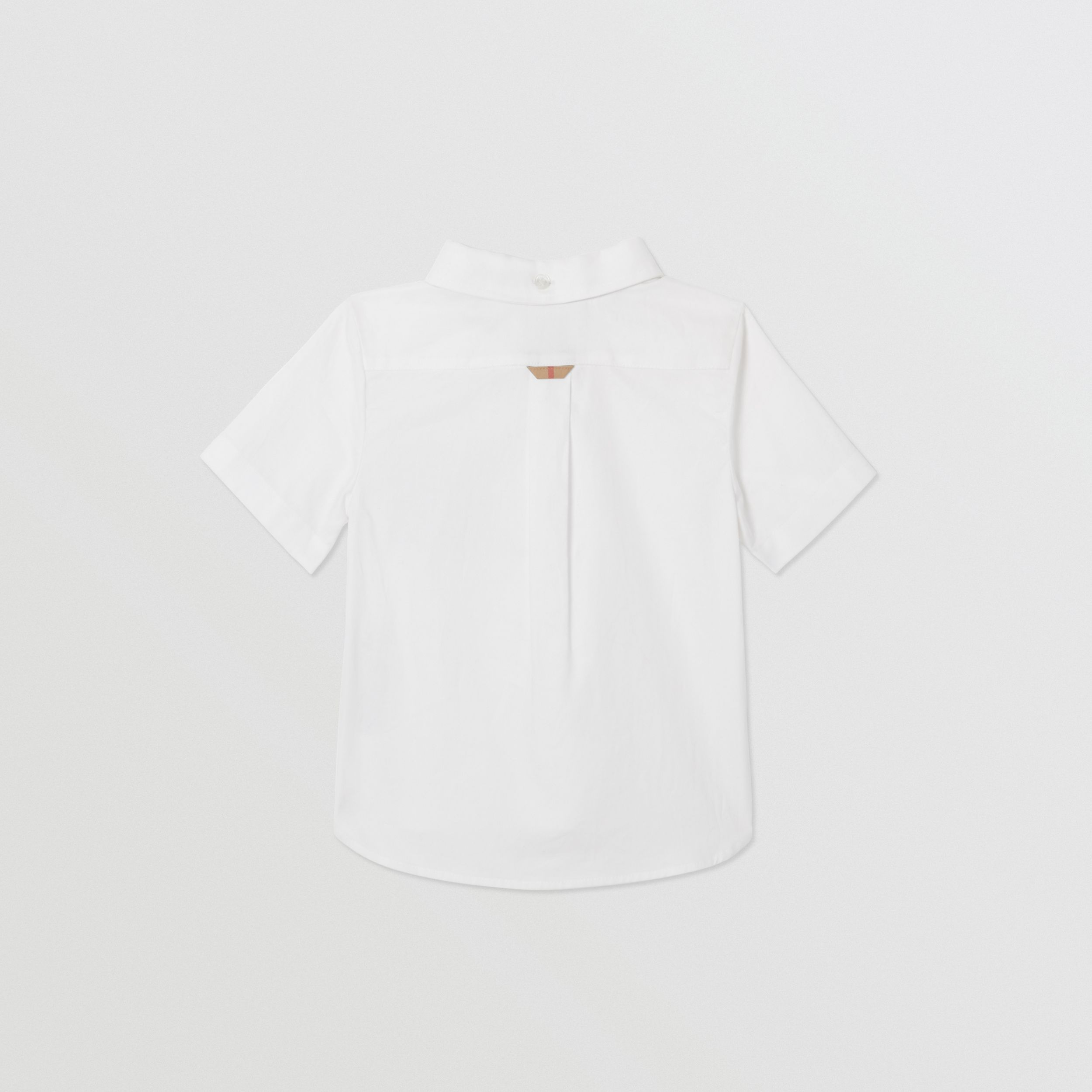 Short-sleeve Vintage Check Detail Cotton Oxford Shirt in White - Children | Burberry United States - 4