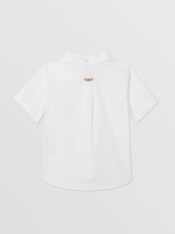 Short-sleeve Vintage Check Detail Cotton Oxford Shirt in White - Children | Burberry United Kingdom - cell image 3