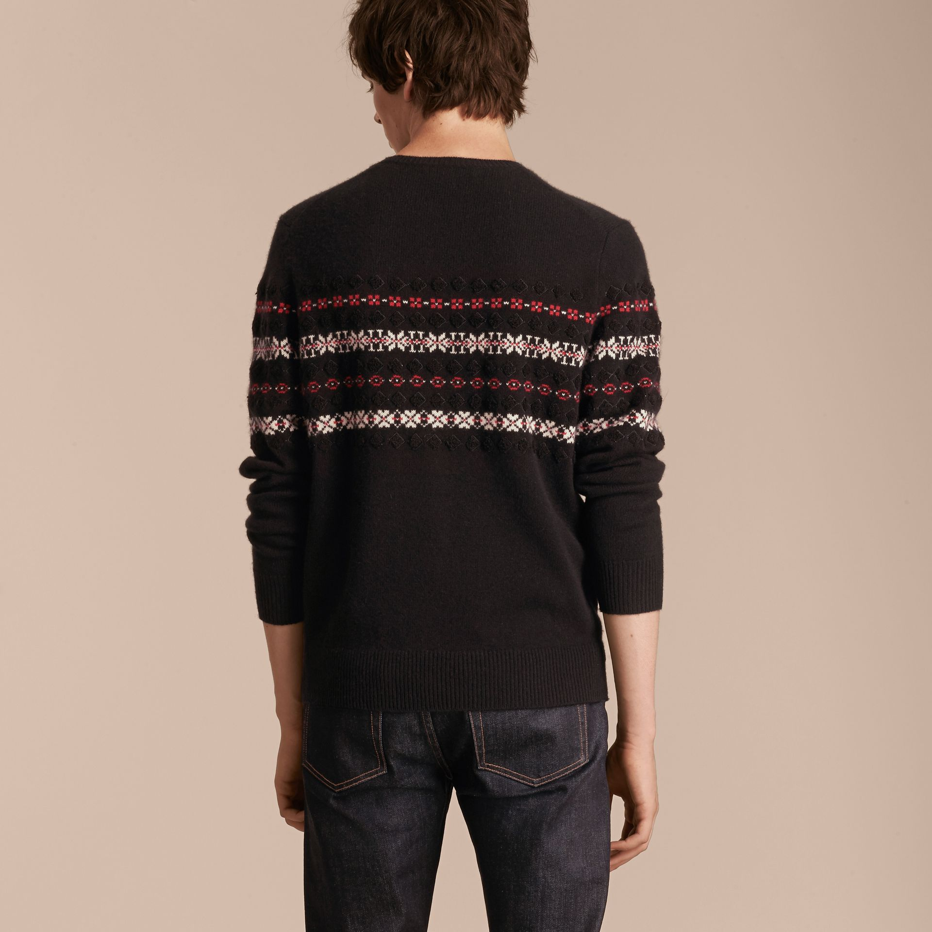 Black Fair Isle Knit Cashmere Wool Sweater - gallery image 3