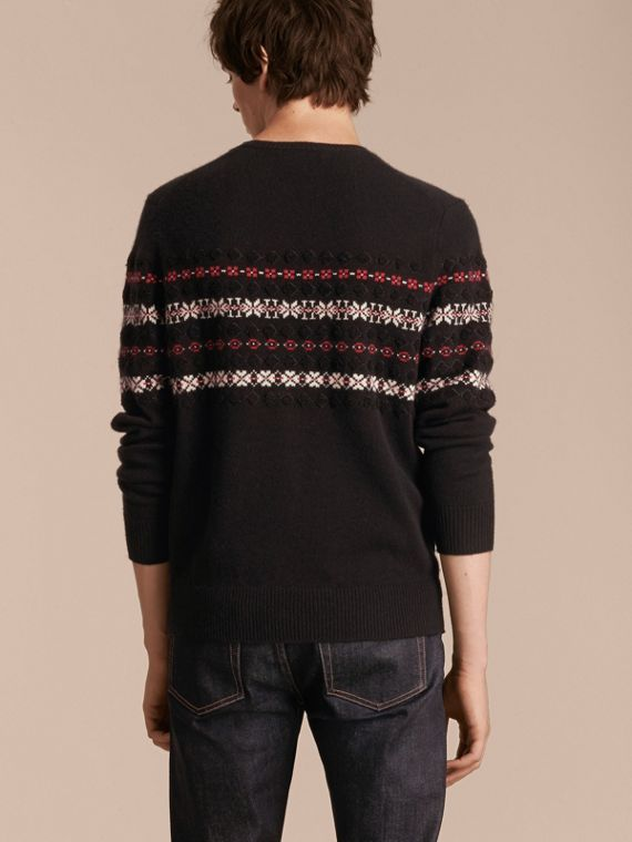 Black Fair Isle Knit Cashmere Wool Sweater - cell image 2