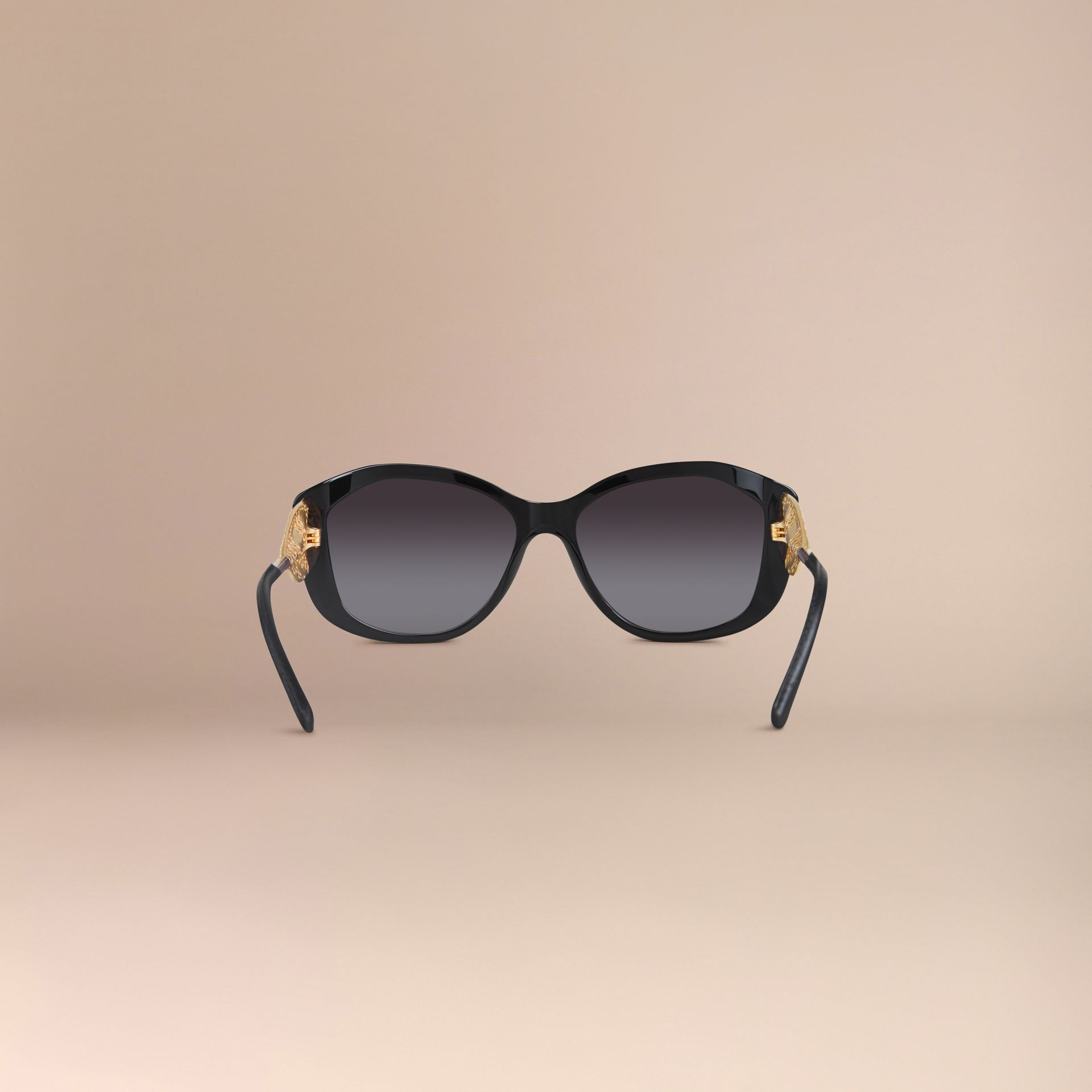 Black Gabardine Lace Collection Square Frame Sunglasses Black - gallery image 7