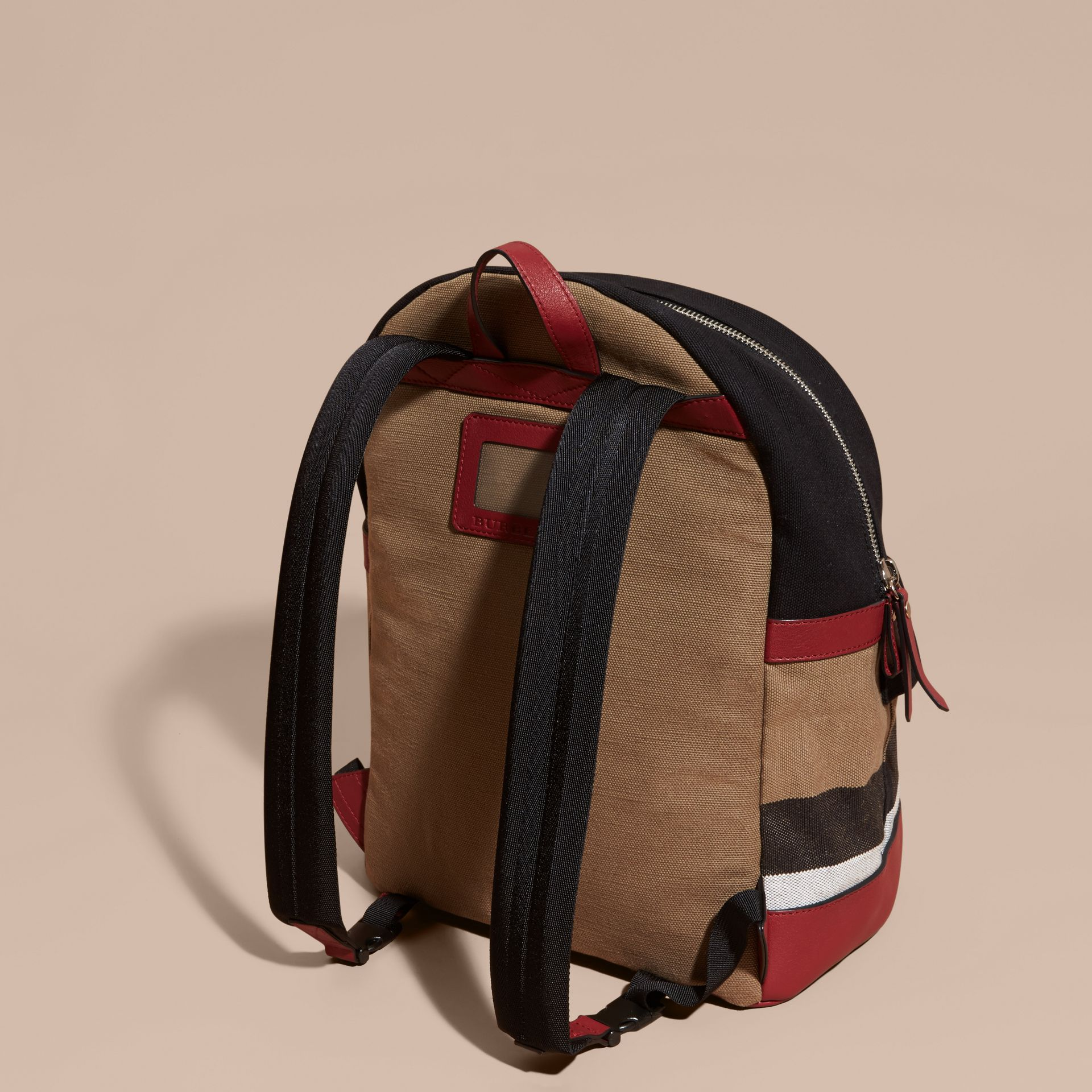 Parade red Appliquéd Weather Graphic Check and Leather Backpack - gallery image 4
