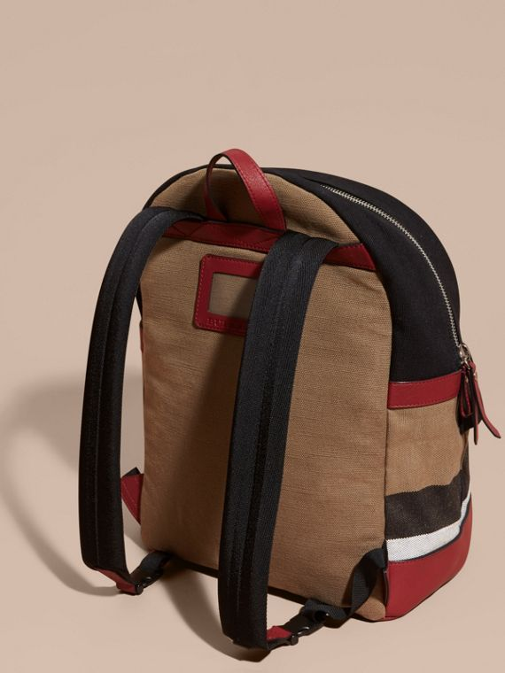 Appliquéd Weather Graphic Check and Leather Backpack - cell image 3