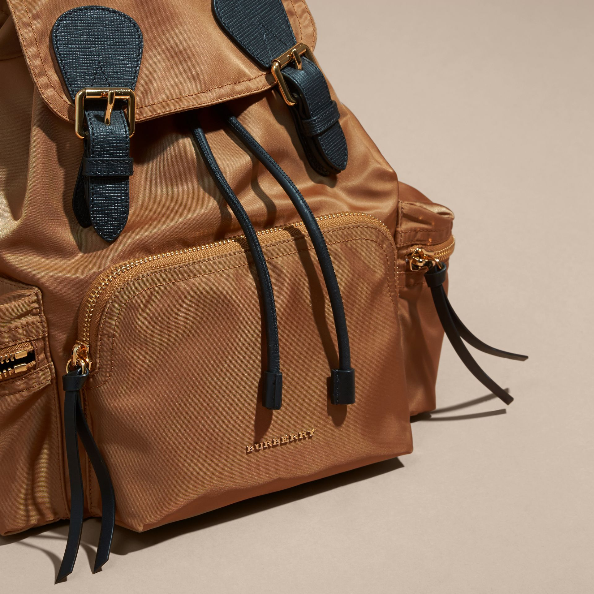 The Medium Rucksack in Technical Nylon and Leather in Light Flax - gallery image 6