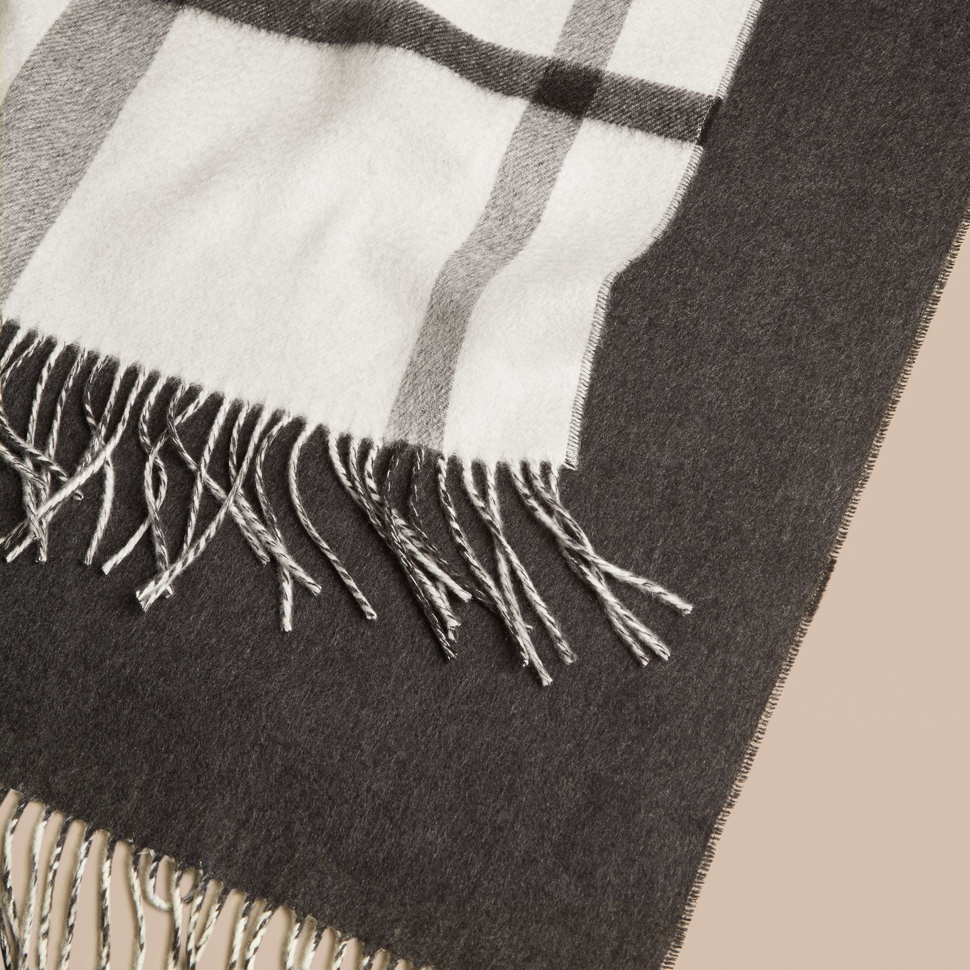 Black/white Check Merino Wool Cashmere Blanket - gallery image 2