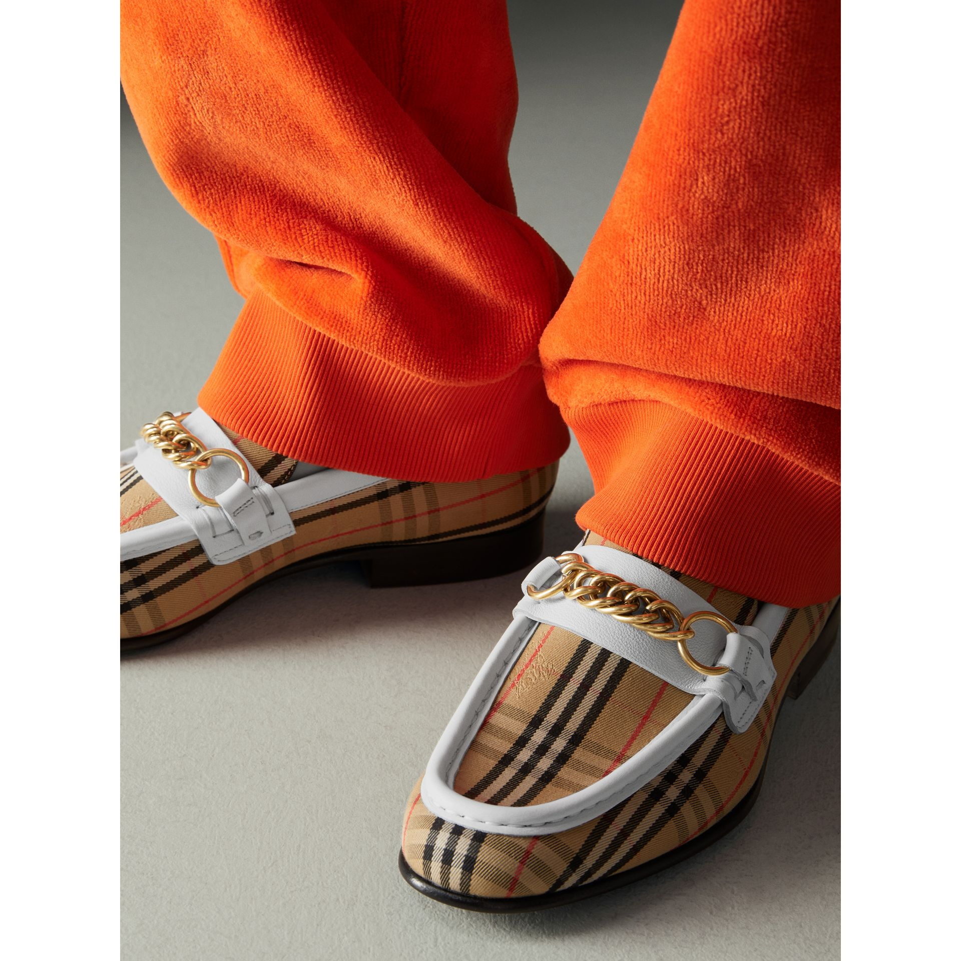 The 1983 Check Link Loafer in Off White - Women | Burberry - gallery image 2