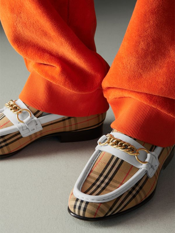 The 1983 Check Link Loafer in Off White - Women | Burberry United Kingdom - cell image 2