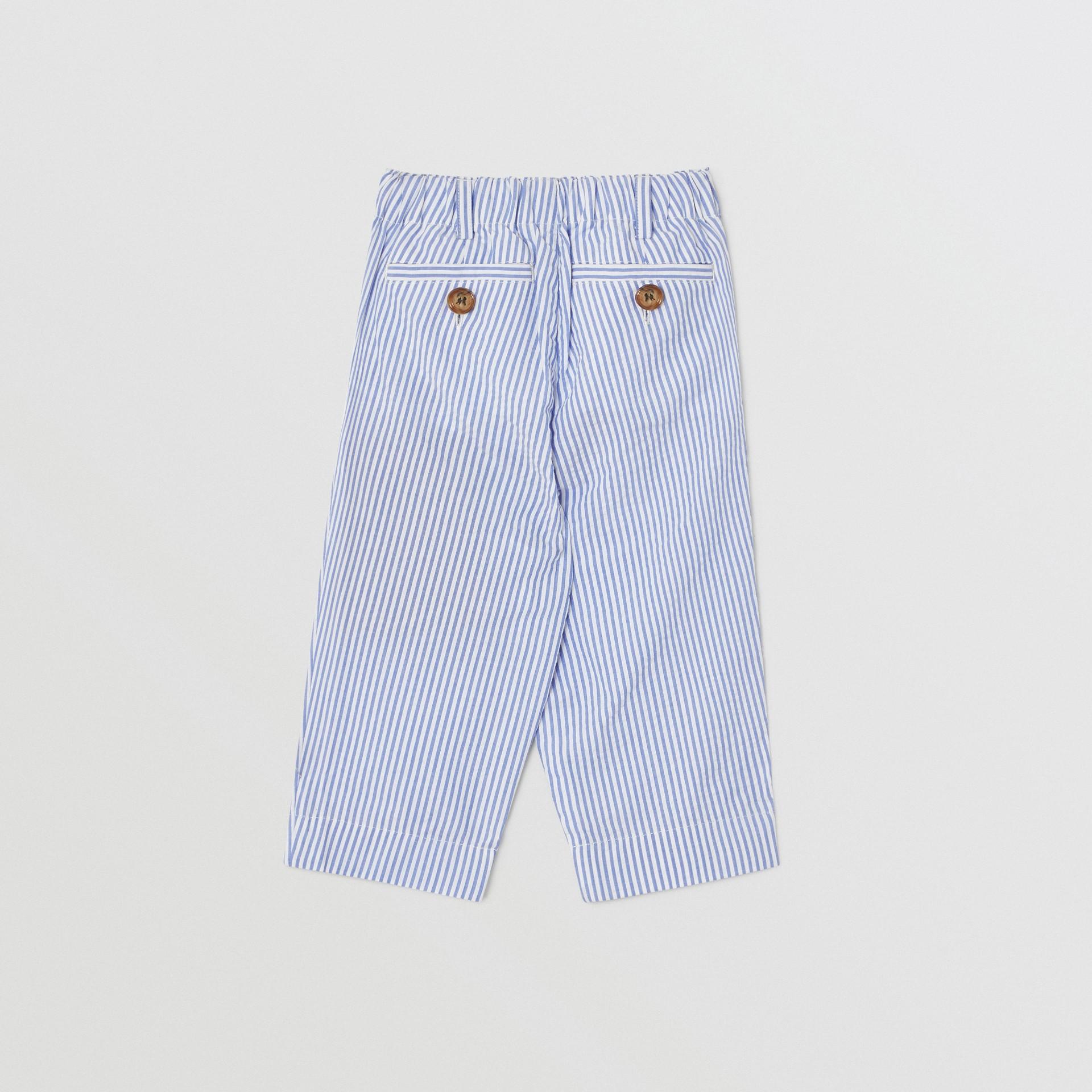 Striped Cotton Seersucker Tailored Trousers in Cornflower Blue - Children | Burberry - gallery image 3