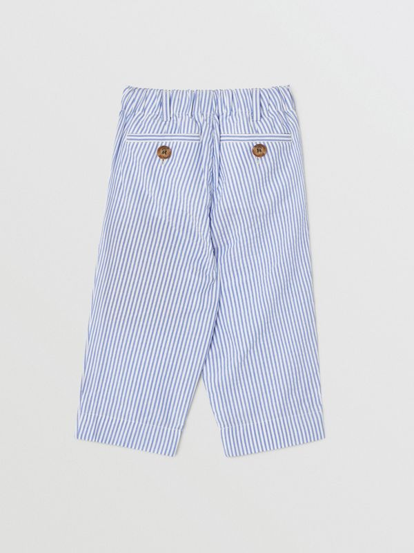 Striped Cotton Seersucker Tailored Trousers in Cornflower Blue - Children | Burberry - cell image 3