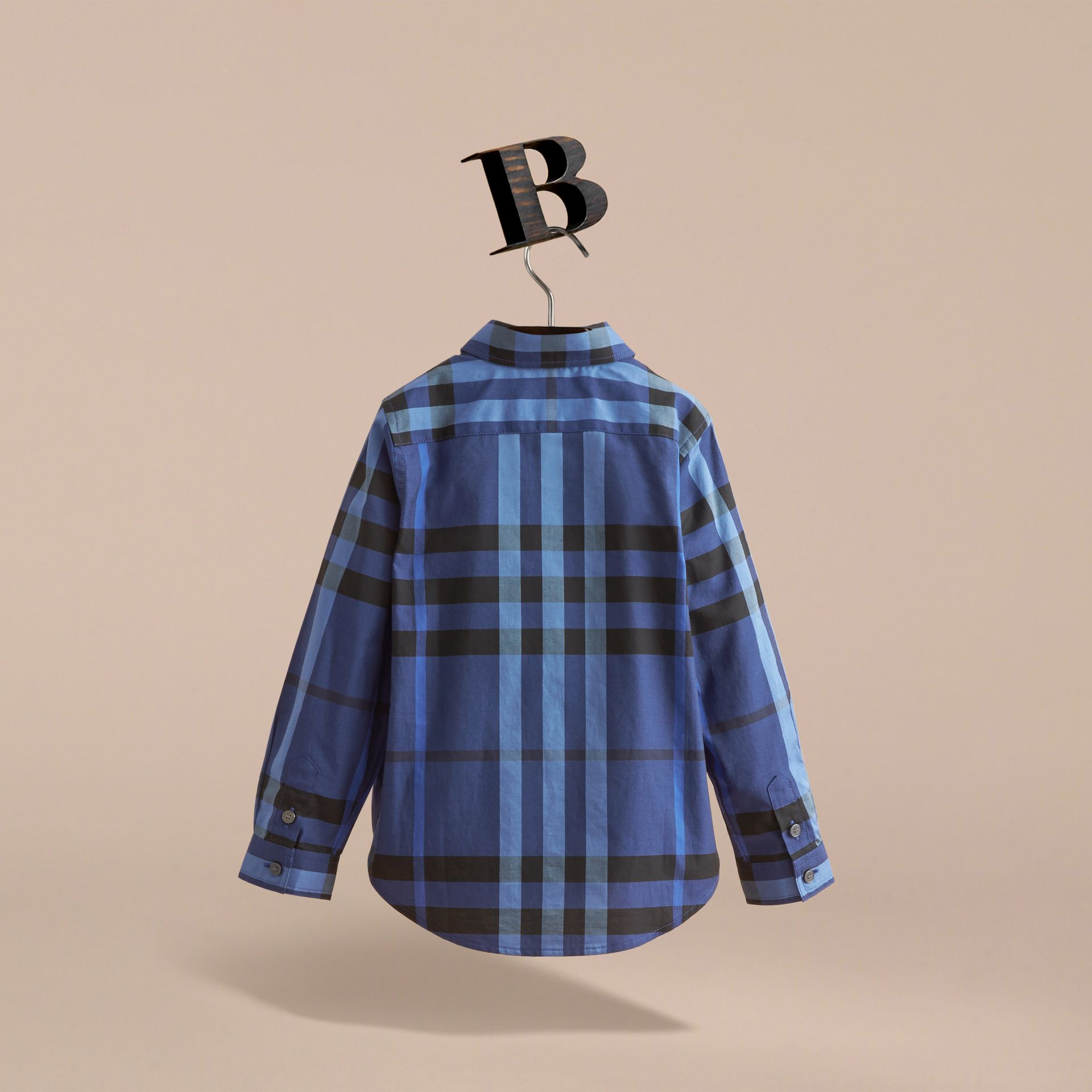 Check Cotton Button-Down Shirt in Brilliant Blue - Boy | Burberry - gallery image 4