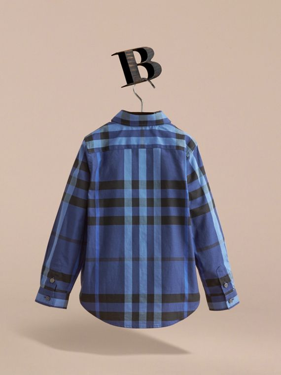 Check Cotton Button-Down Shirt in Brilliant Blue - Boy | Burberry - cell image 3