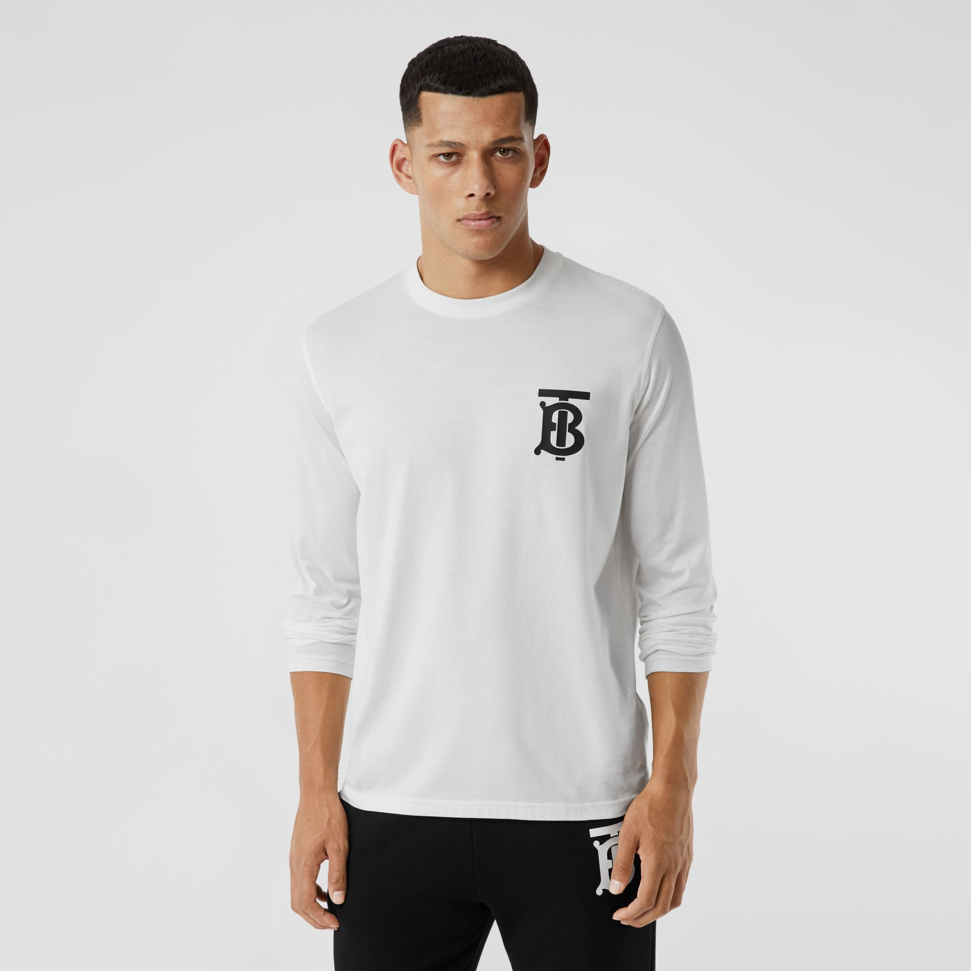 Long-sleeve Monogram Motif Cotton Top in White - Men | Burberry - gallery image 4