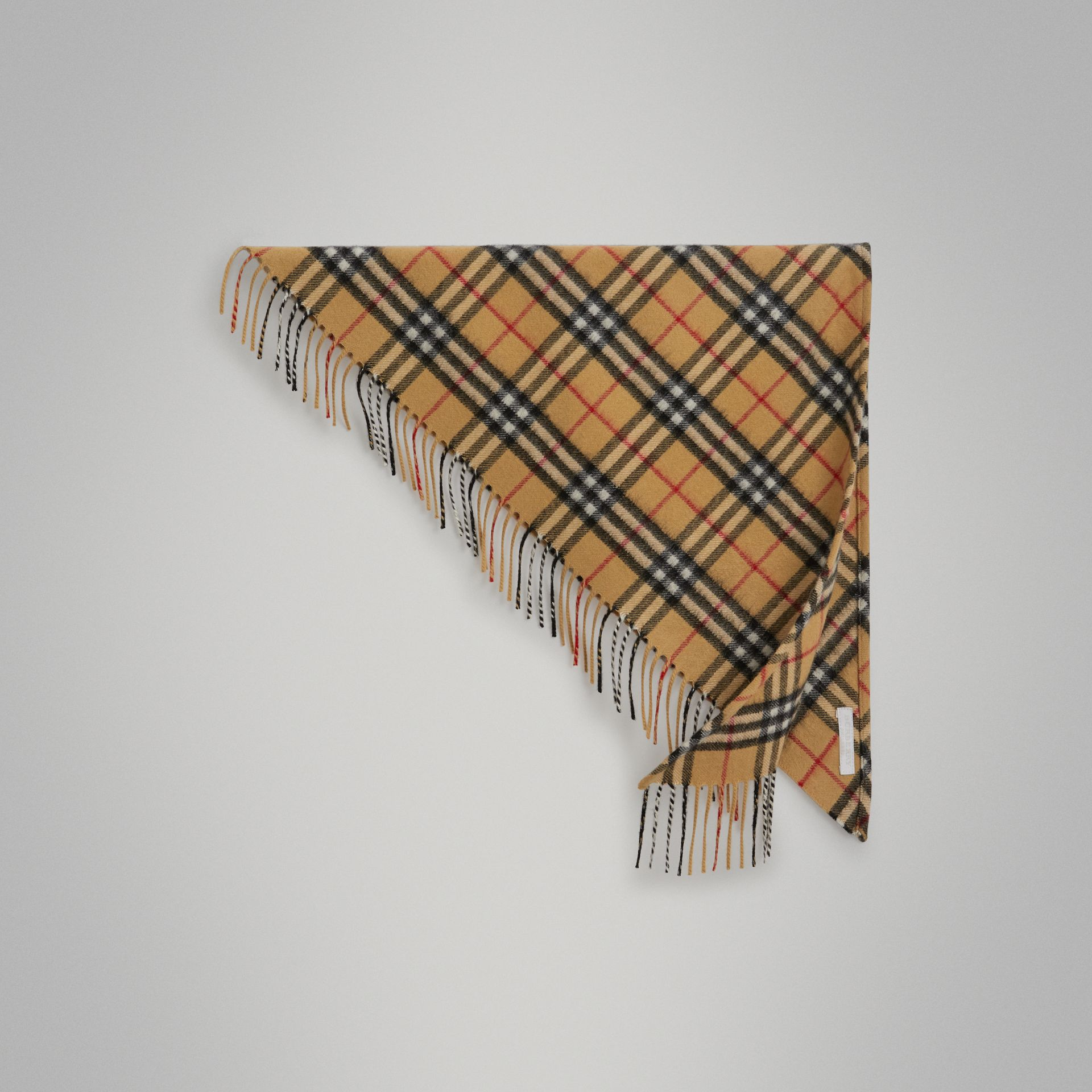 The Mini Burberry Bandana in Vintage Check Cashmere in Antique Yellow | Burberry Singapore - gallery image 0