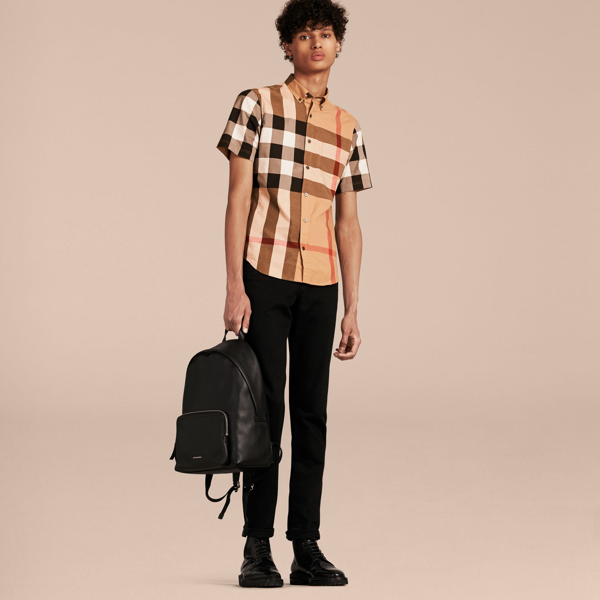 Camel Short-sleeved Check Cotton Shirt Camel - gallery image 6