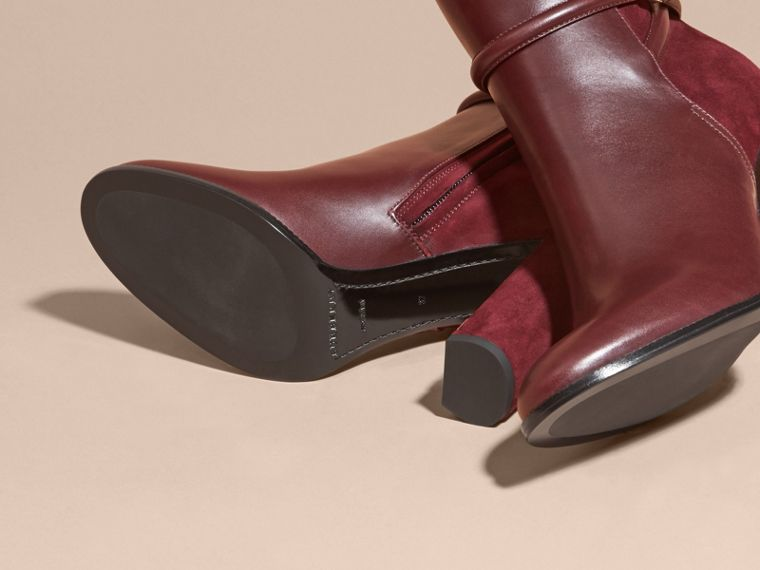 Oxblood Strap Detail Leather and Suede Ankle Boots - cell image 4