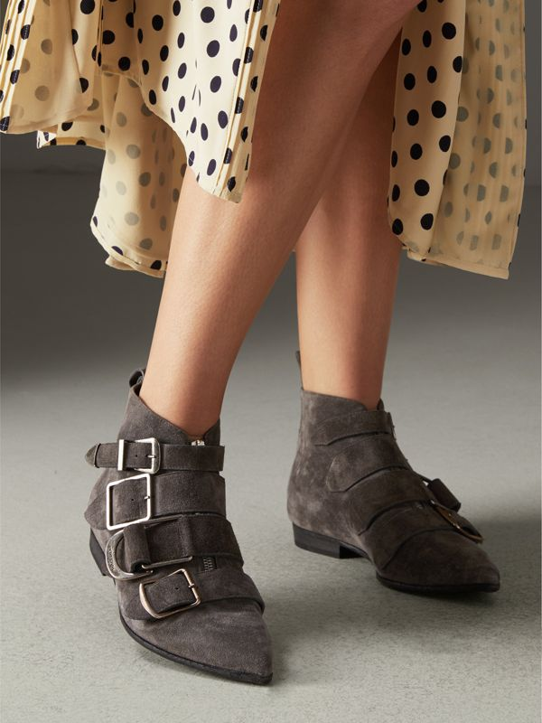 Buckle Detail Suede Ankle Boots in Dark Storm Grey - Women | Burberry - cell image 2