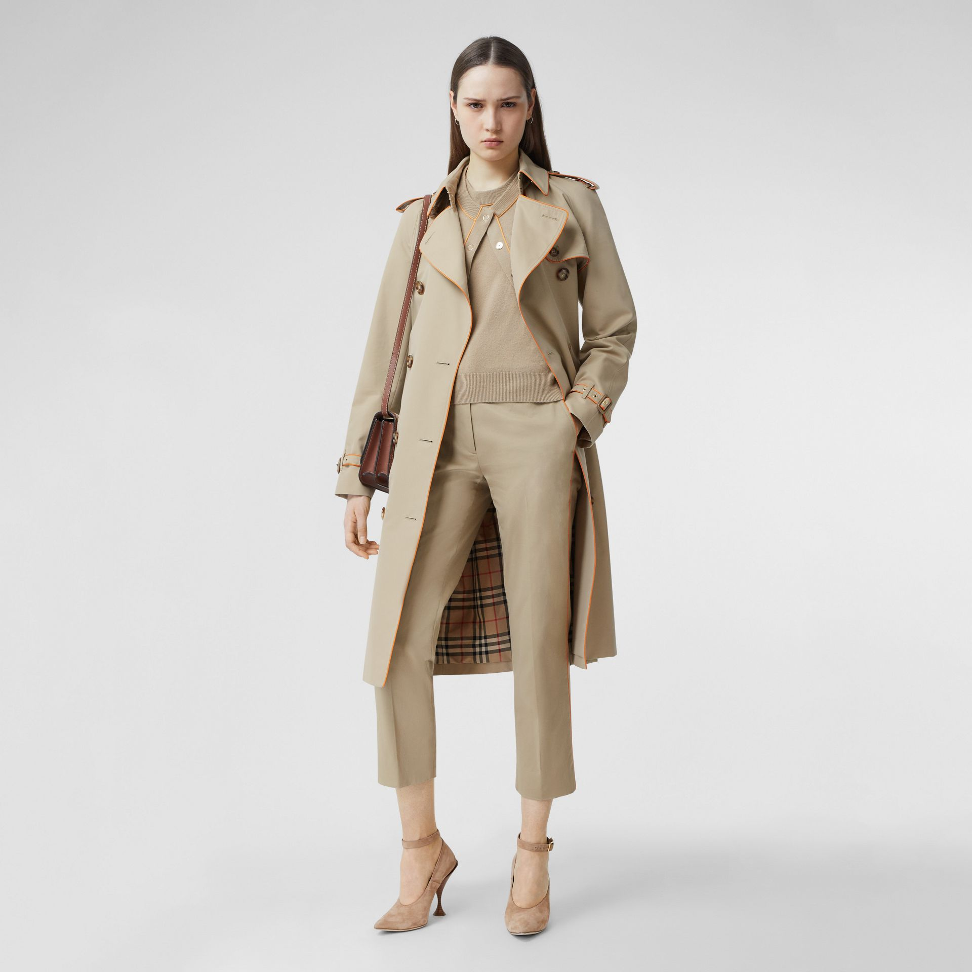 Silk Trim Cropped Cotton Chinos in Honey - Women | Burberry - gallery image 0