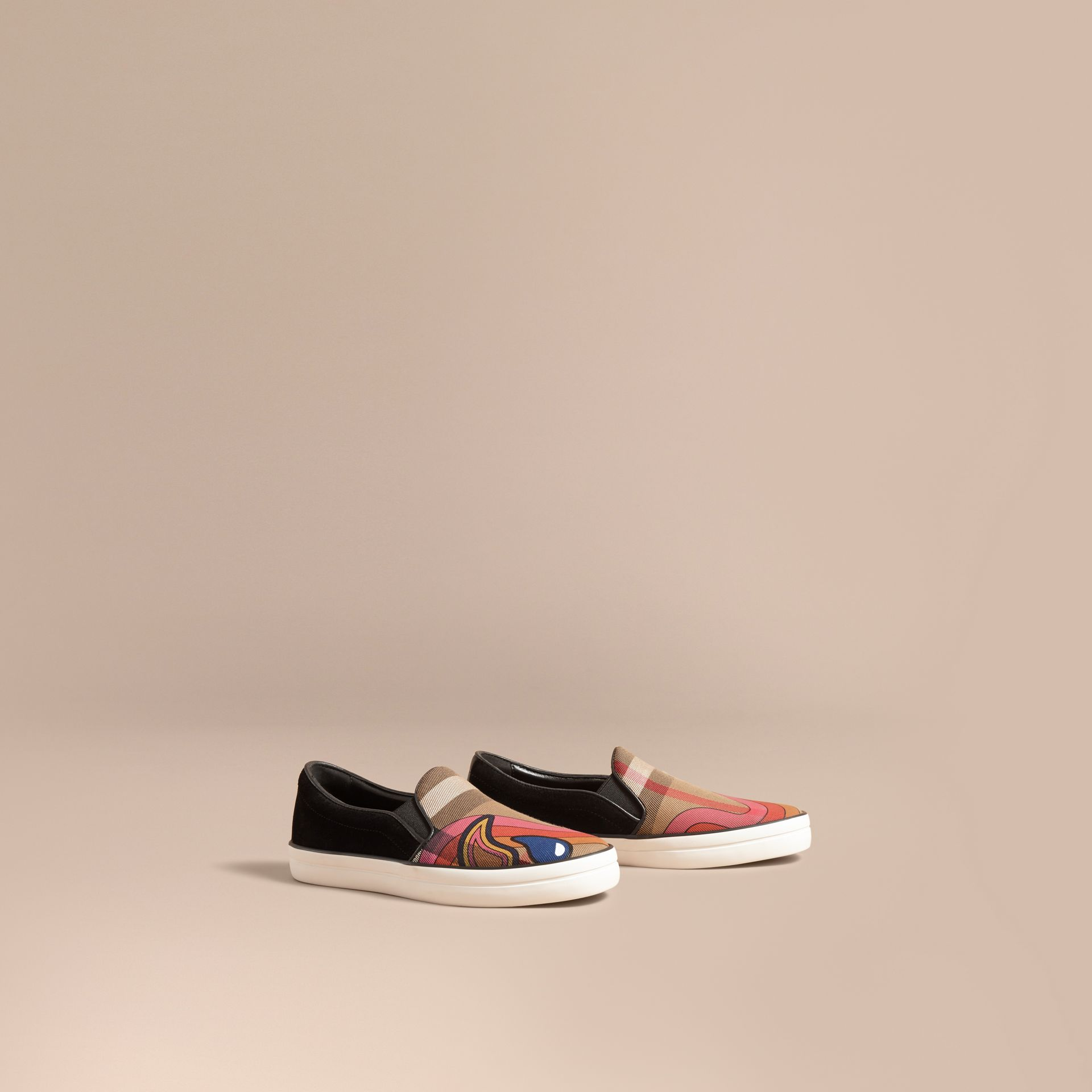Rainbow Print House Check Cotton and Suede Slip-on Trainers - gallery image 1