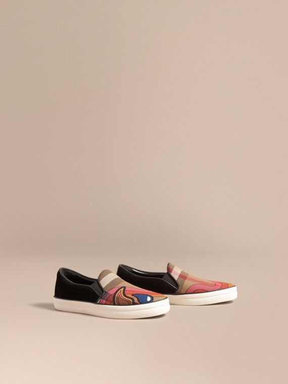 Rainbow Print House Check Cotton and Suede Slip-on Trainers