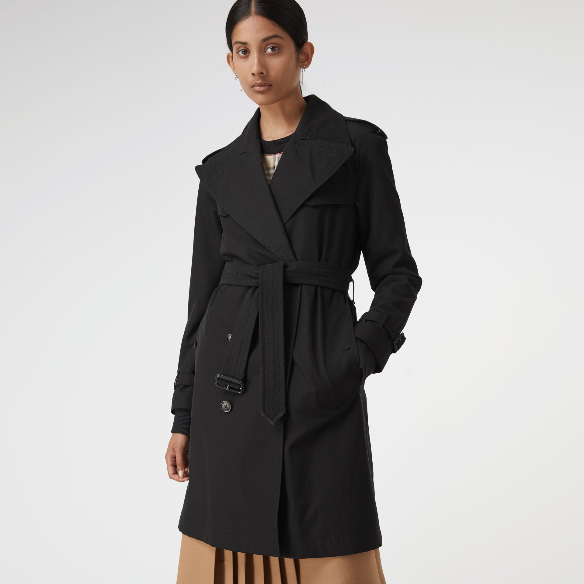 Oversized Lapel Cotton Gabardine Trench Coat in Black - Women | Burberry - gallery image 6
