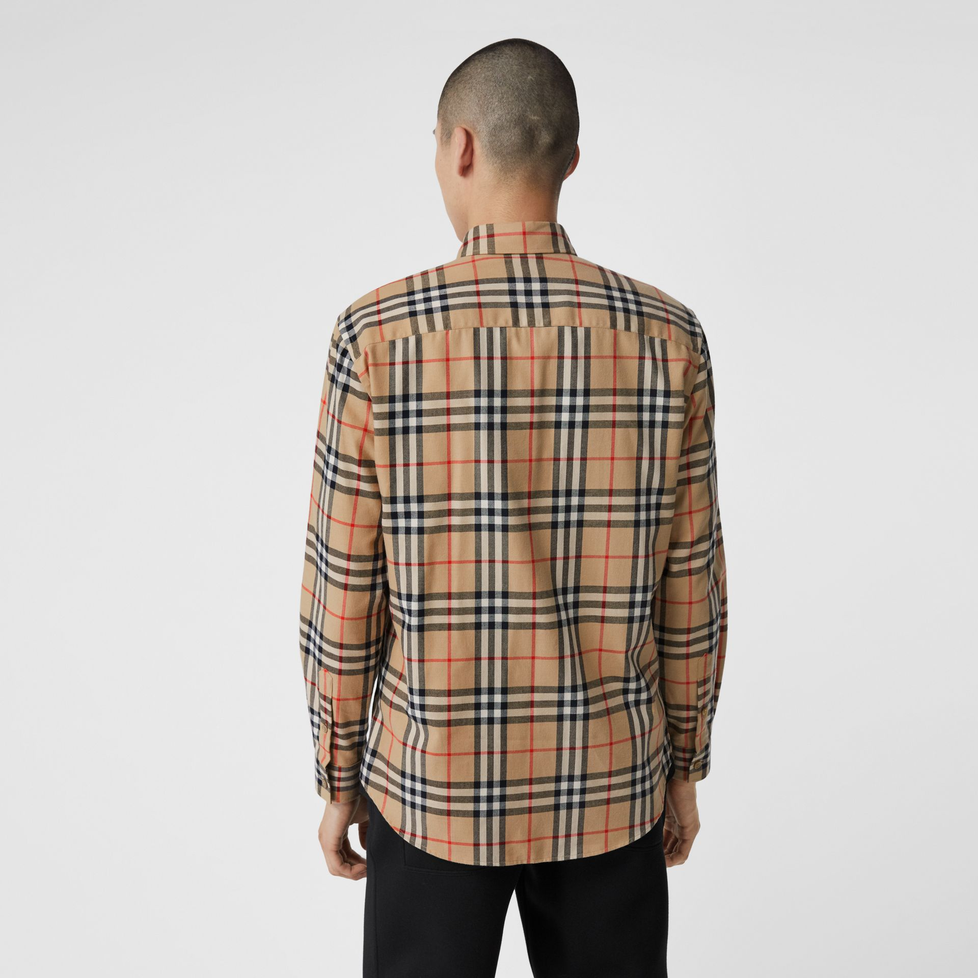 Vintage Check Cotton Flannel Shirt in Archive Beige - Men | Burberry - gallery image 2
