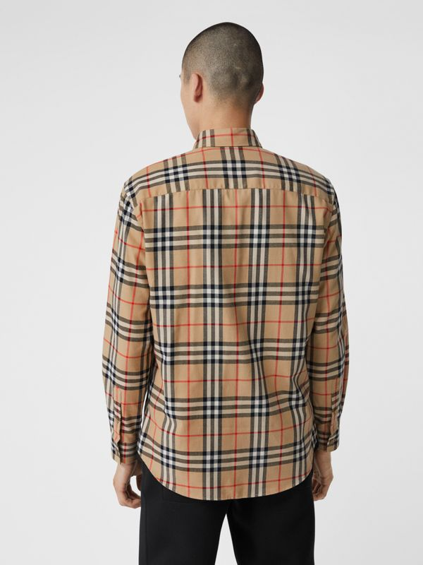 Vintage Check Cotton Flannel Shirt in Archive Beige - Men | Burberry - cell image 2
