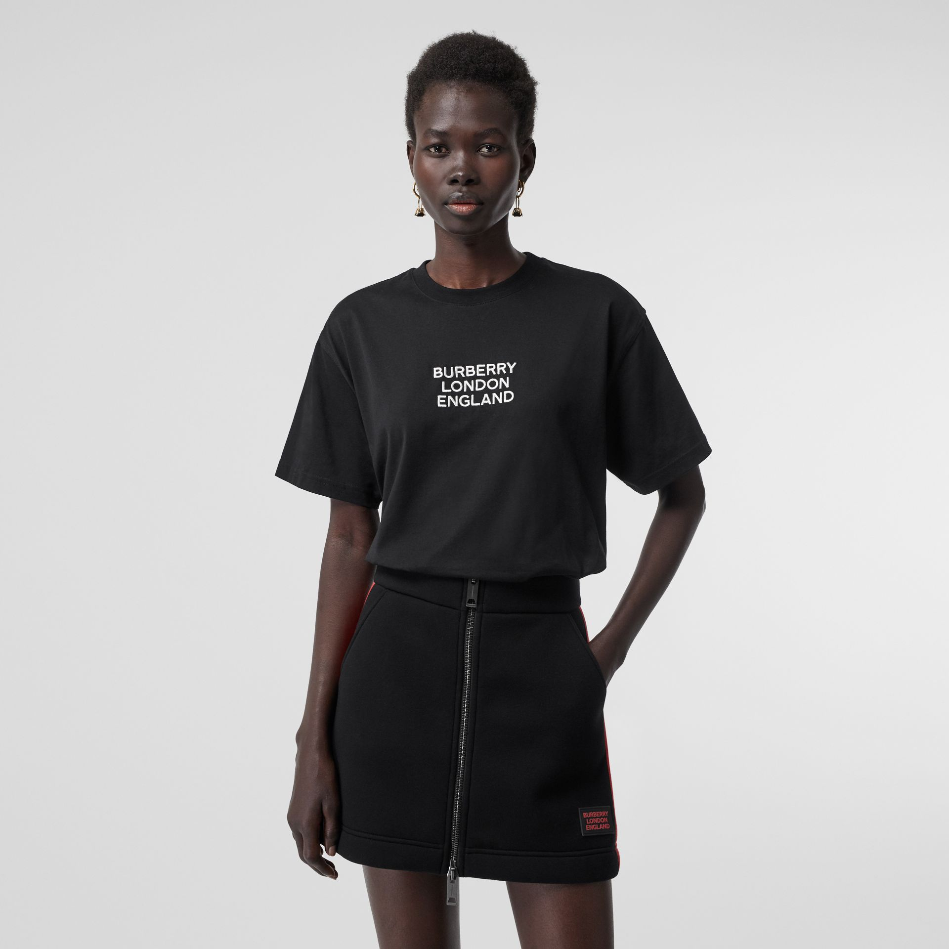 Embroidered Logo Cotton Oversized T-shirt in Black - Women | Burberry - gallery image 4