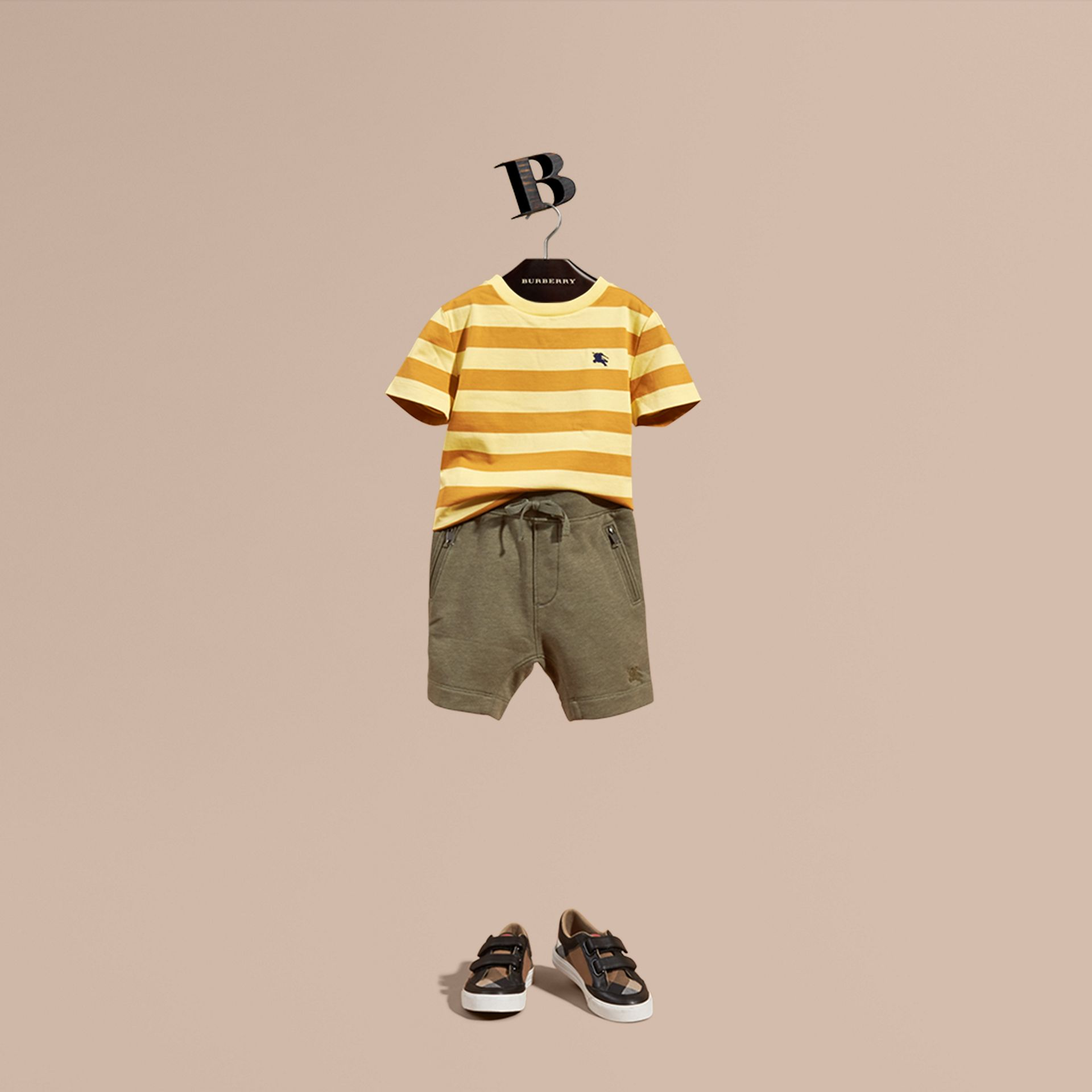 Cotton Jersey Drawcord Shorts in Khaki Green Melange - Boy | Burberry - gallery image 1