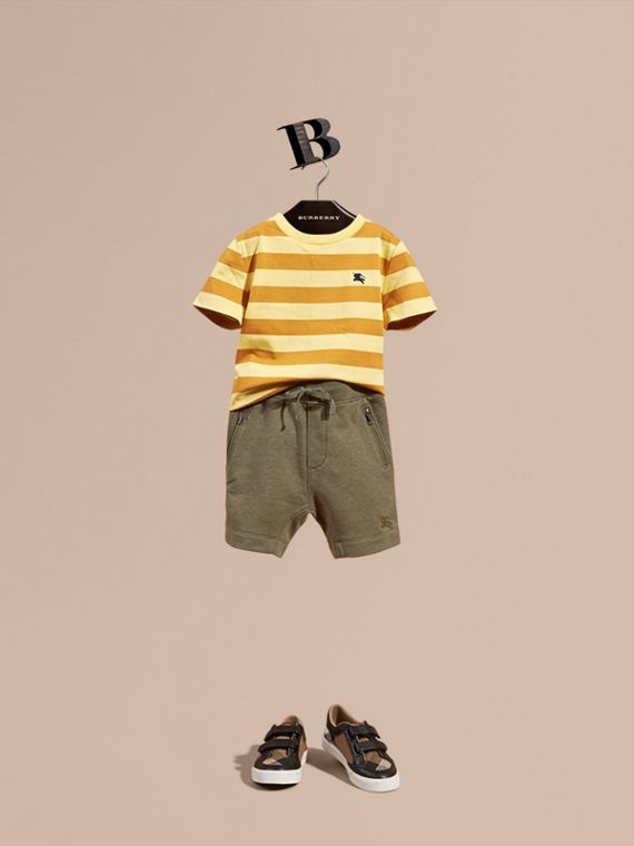 Cotton Jersey Drawcord Shorts in Khaki Green Melange - Boy | Burberry