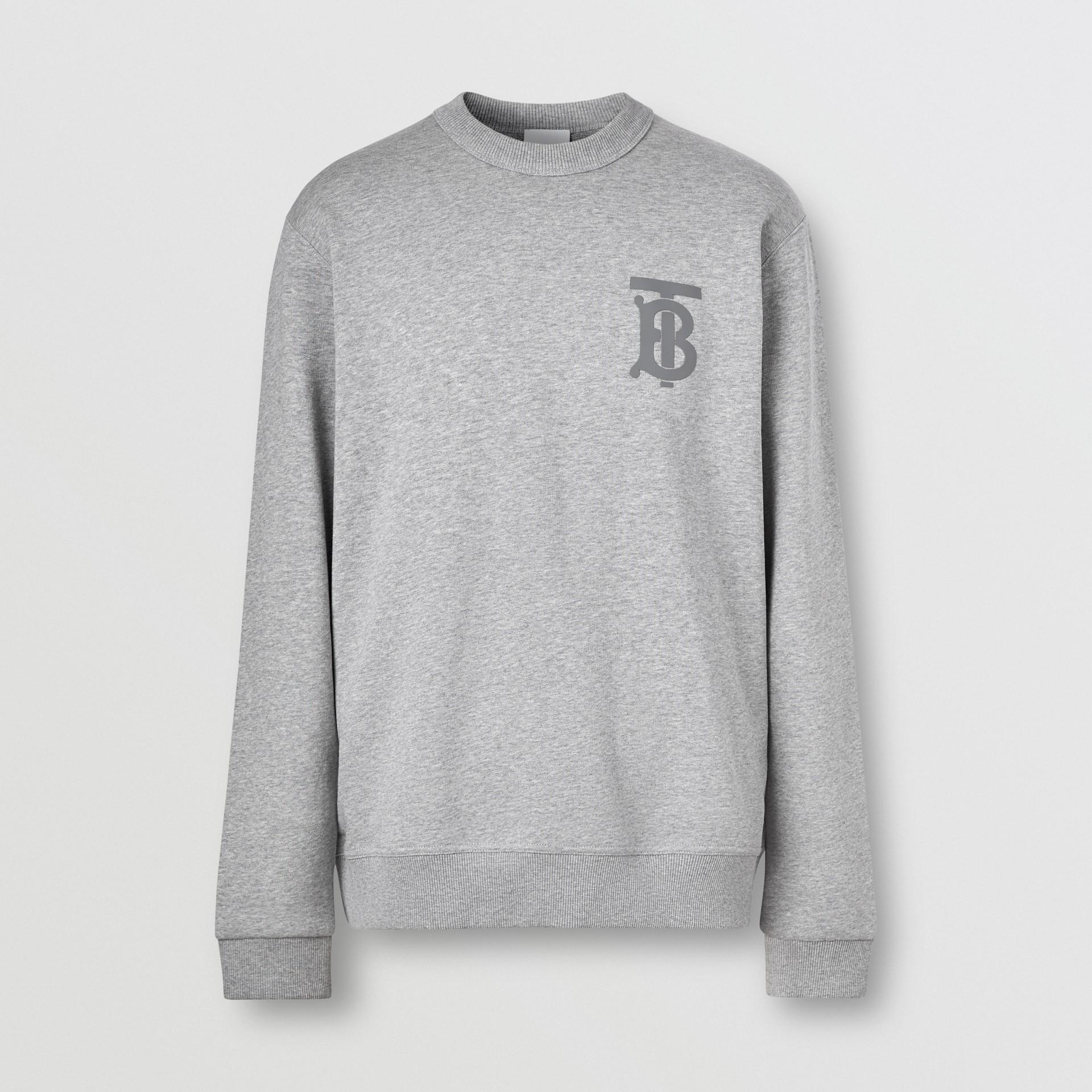 Monogram Motif Cotton Sweatshirt in Pale Grey Melange - Men | Burberry United Kingdom - gallery image 3