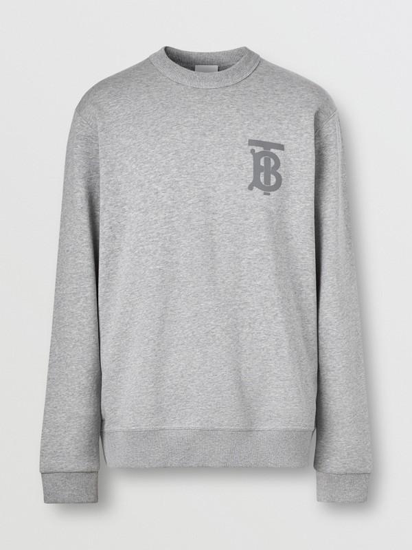 Monogram Motif Cotton Sweatshirt in Pale Grey Melange - Men | Burberry United Kingdom - cell image 3