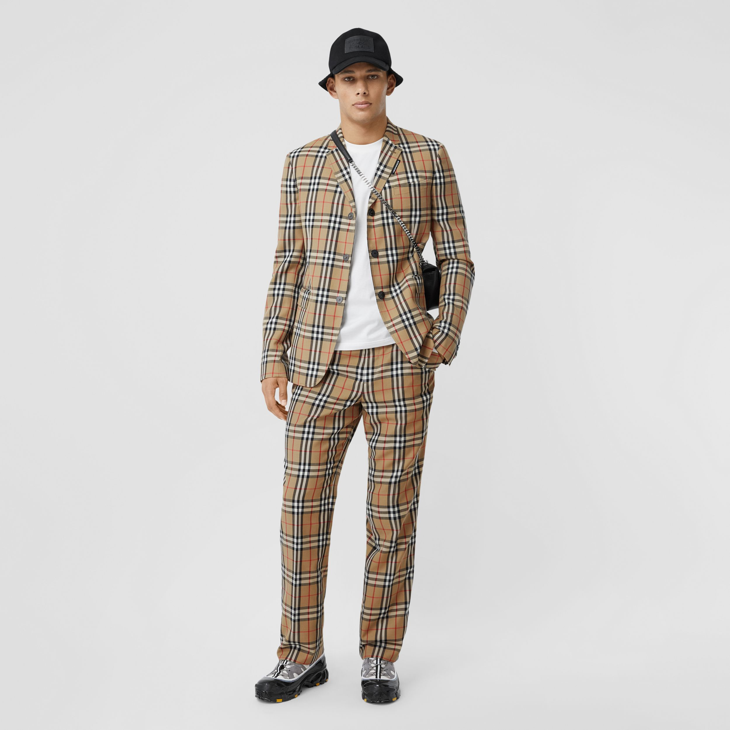 Slim Fit Vintage Check Wool Mohair Tailored Jacket in Archive Beige - Men | Burberry - 1