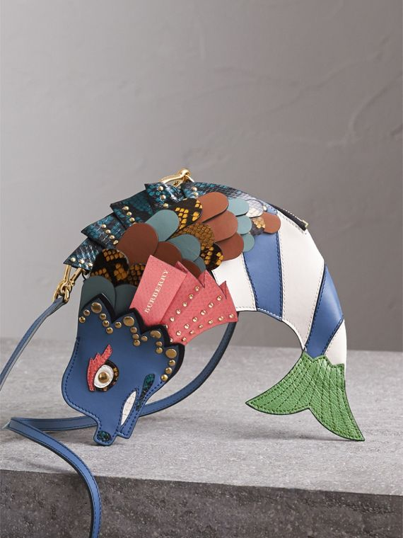 The Fish - Borsa a tracolla in pelle e pelle di serpente (Cobalto Scuro) - Donna | Burberry