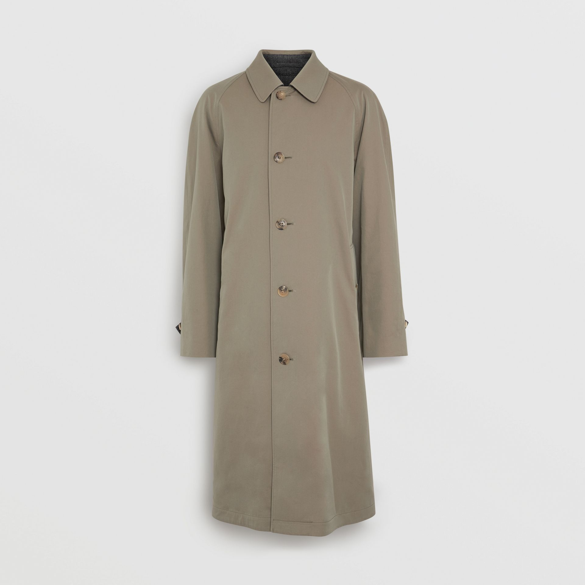 Reversible Tropical Gabardine and Wool Car Coat in Chalk Green - Men | Burberry United Kingdom - gallery image 3