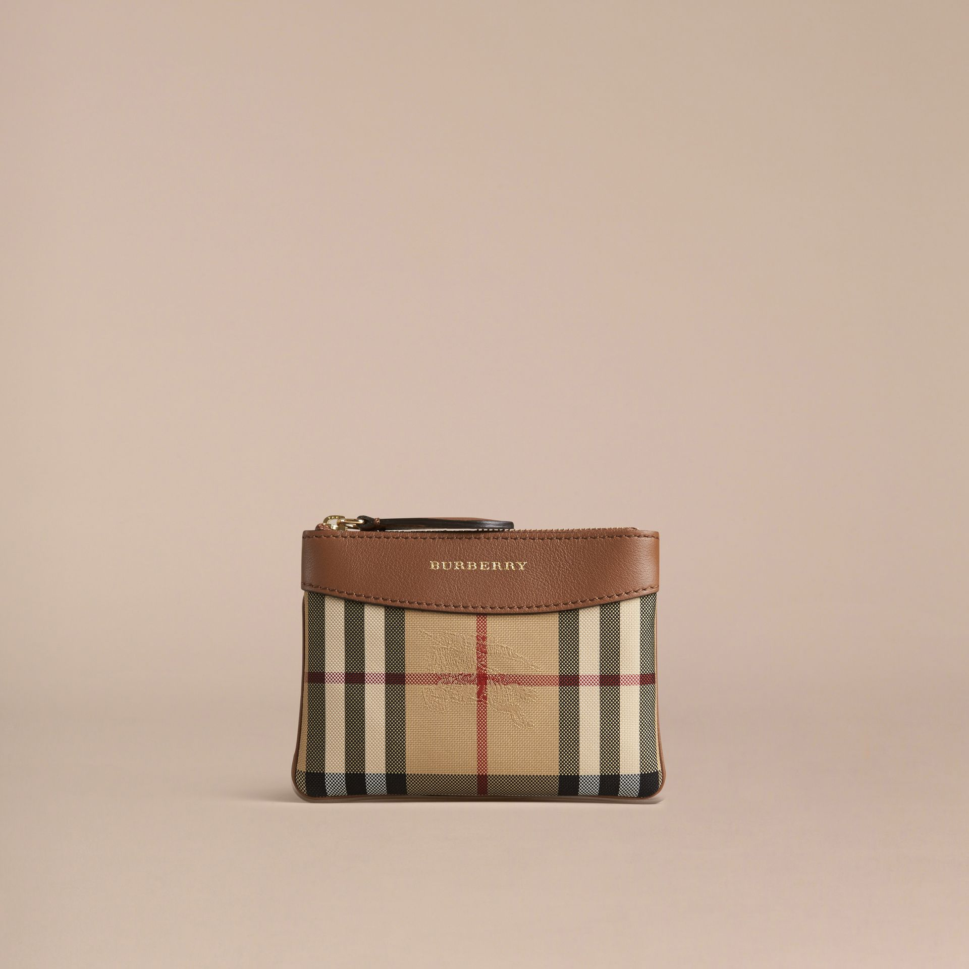 Tan Horseferry Check and Leather Pouch Tan - gallery image 3