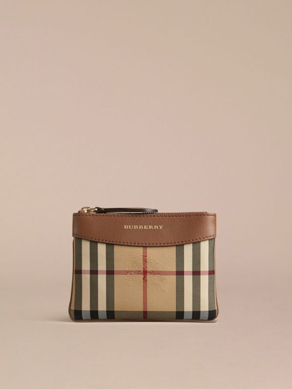 Tan Horseferry Check and Leather Pouch Tan - cell image 2