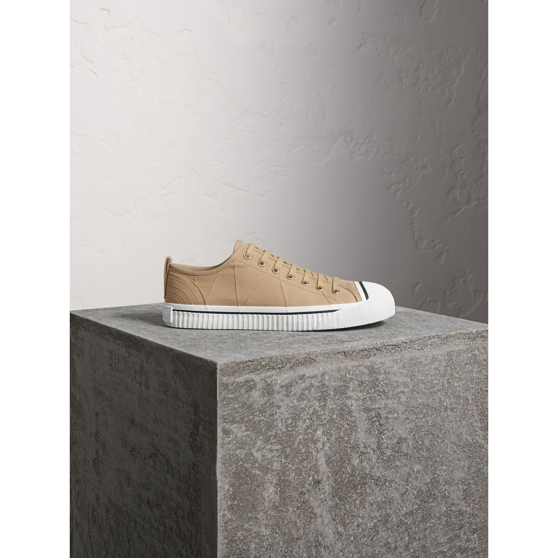Topstitched Cotton Gabardine Trainers in Honey - Men | Burberry Australia - gallery image 1