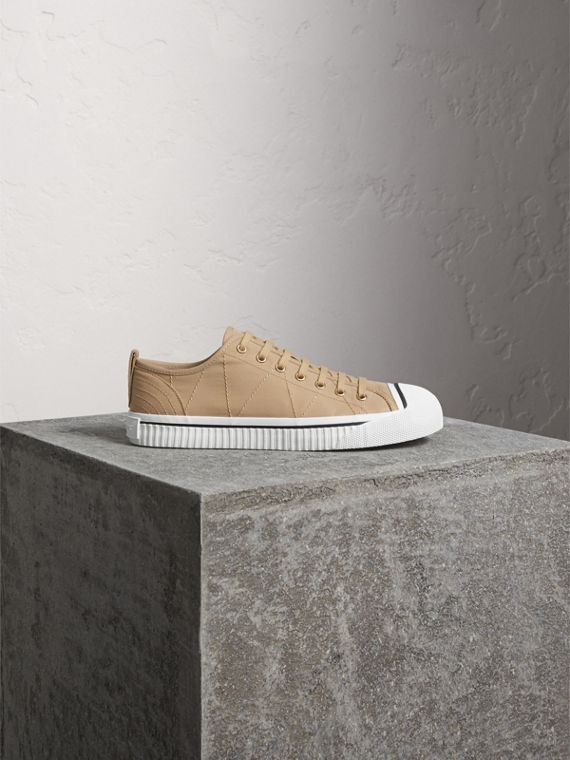 Topstitched Cotton Gabardine Trainers in Honey