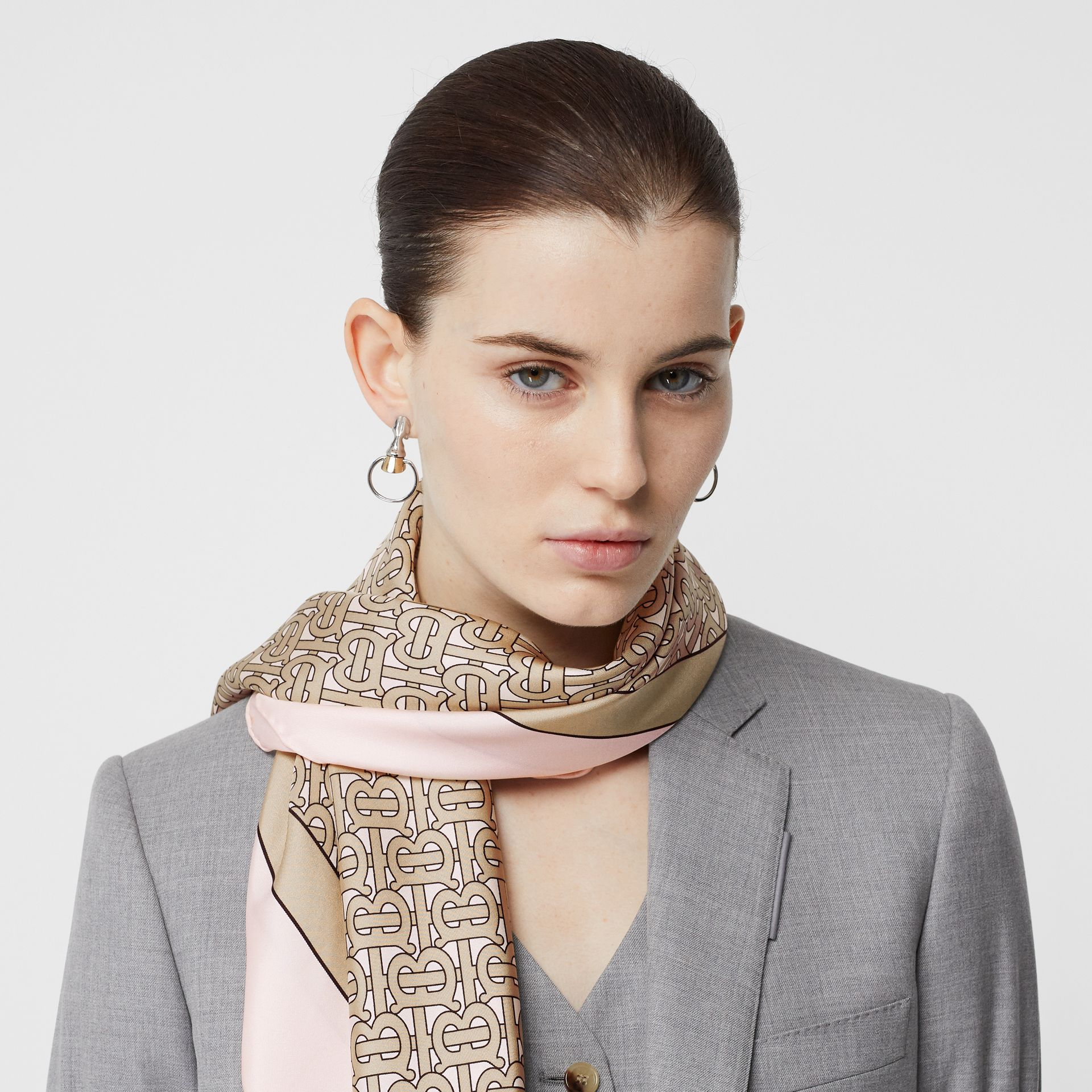 Monogram Print Silk Square Scarf in Pink | Burberry - gallery image 2