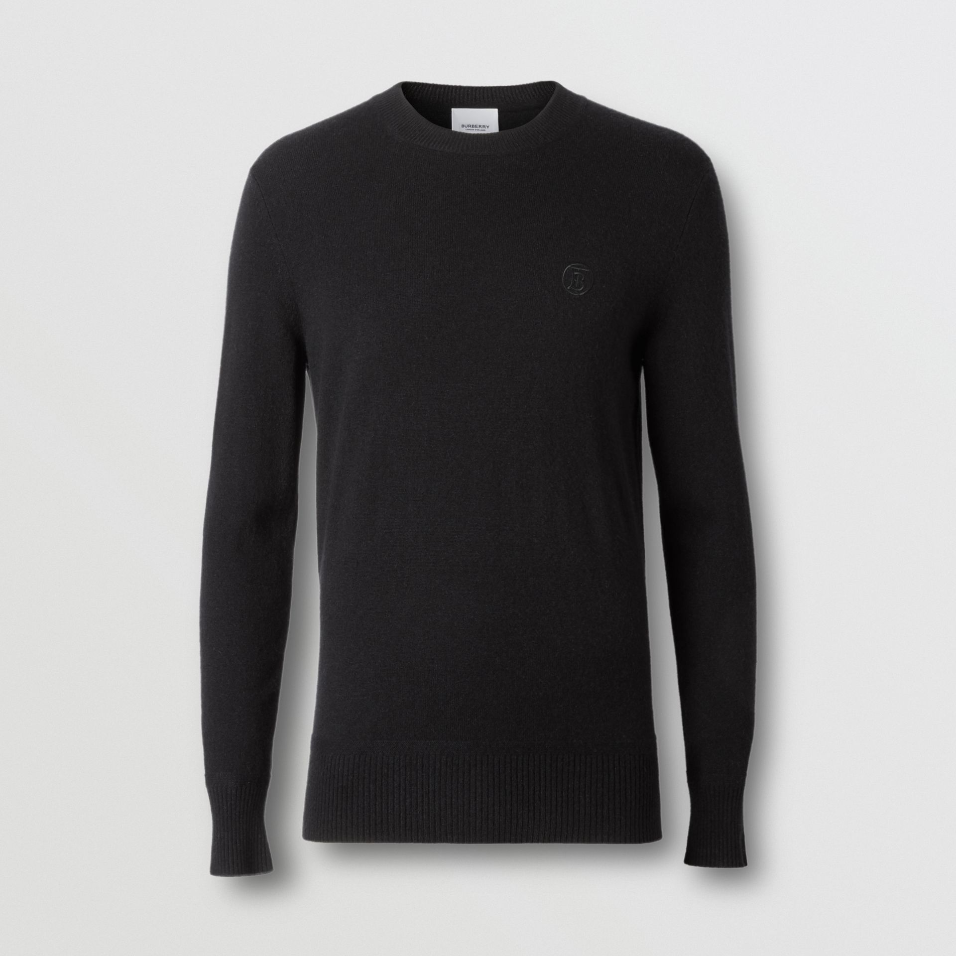 Monogram Motif Cashmere Sweater in Black - Men | Burberry Canada - gallery image 3