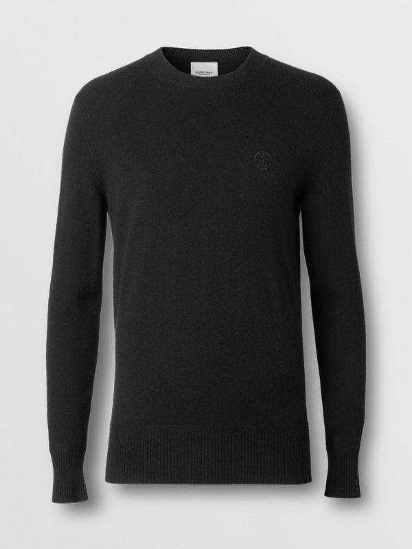 Monogram Motif Cashmere Sweater in Black - Men | Burberry Canada - cell image 3