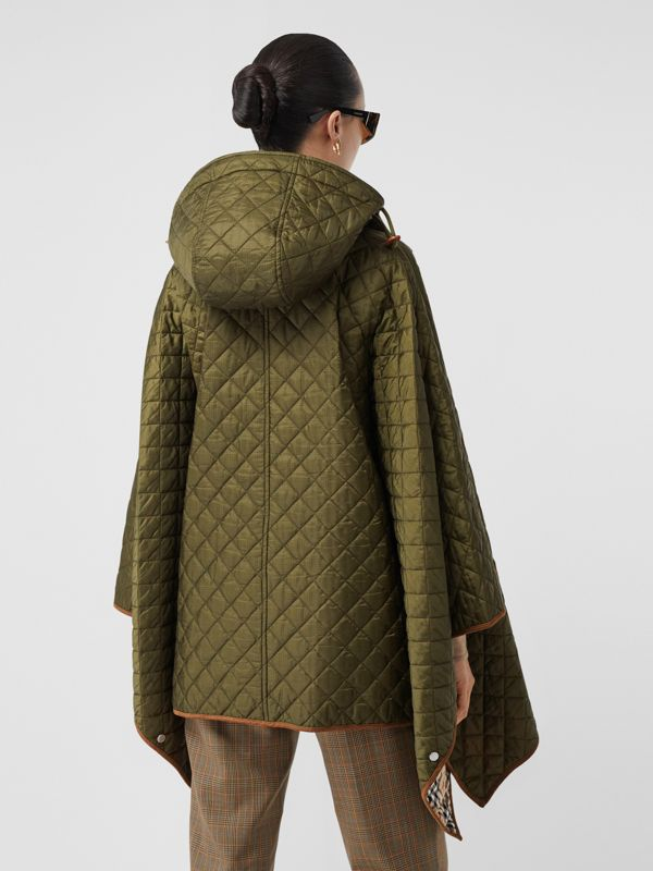 Corduroy Trim Quilted Hooded Cape in Military Olive - Women   Burberry United States - cell image 2