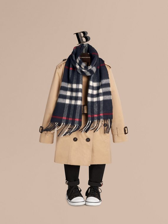 Navy The Mini Classic Cashmere Scarf in Check Navy - cell image 2