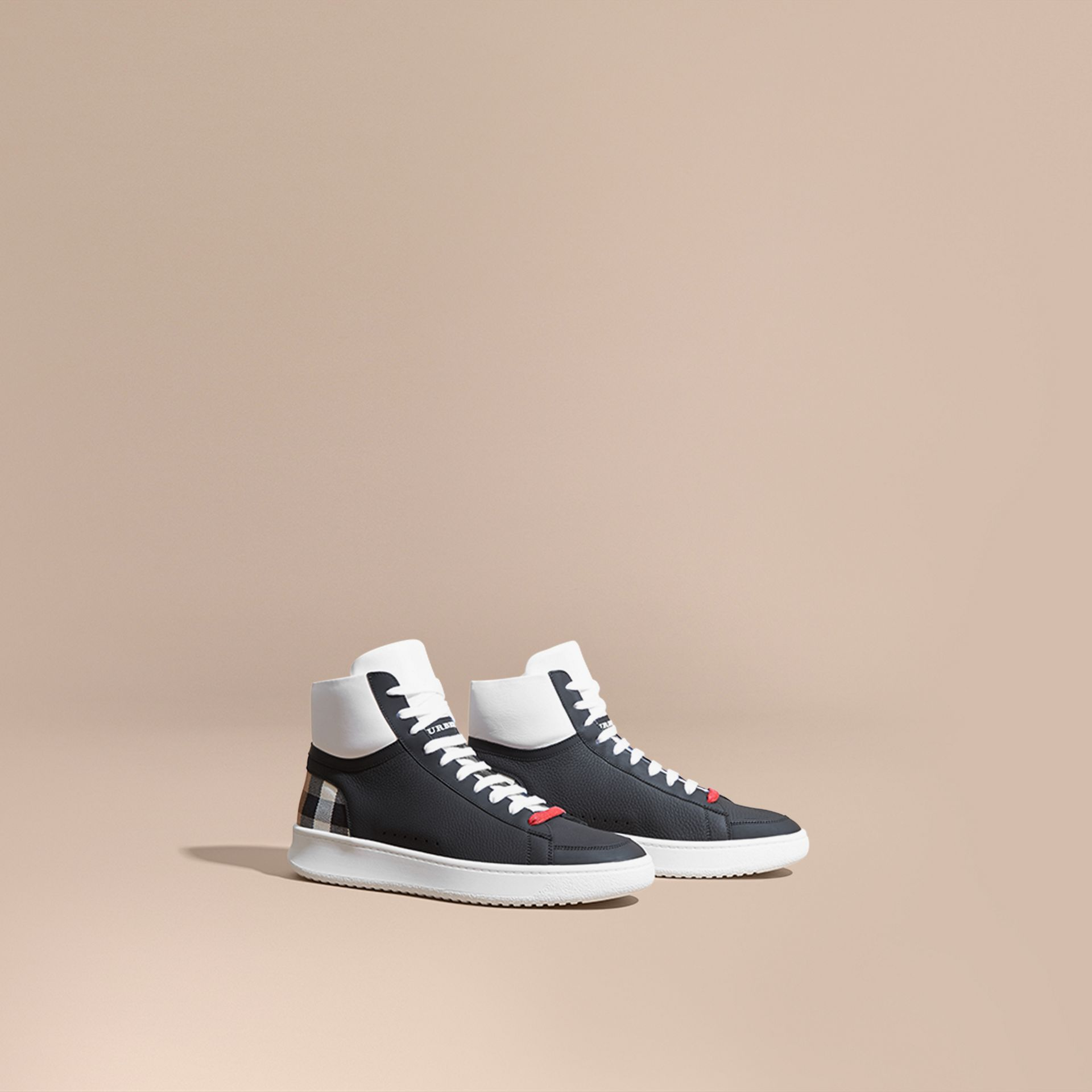 Check Detail Leather High-top Trainers in House Check/black - gallery image 1