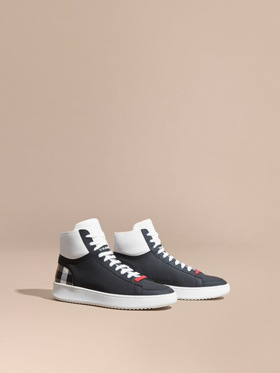 Check Detail Leather High-top Trainers House Check/black