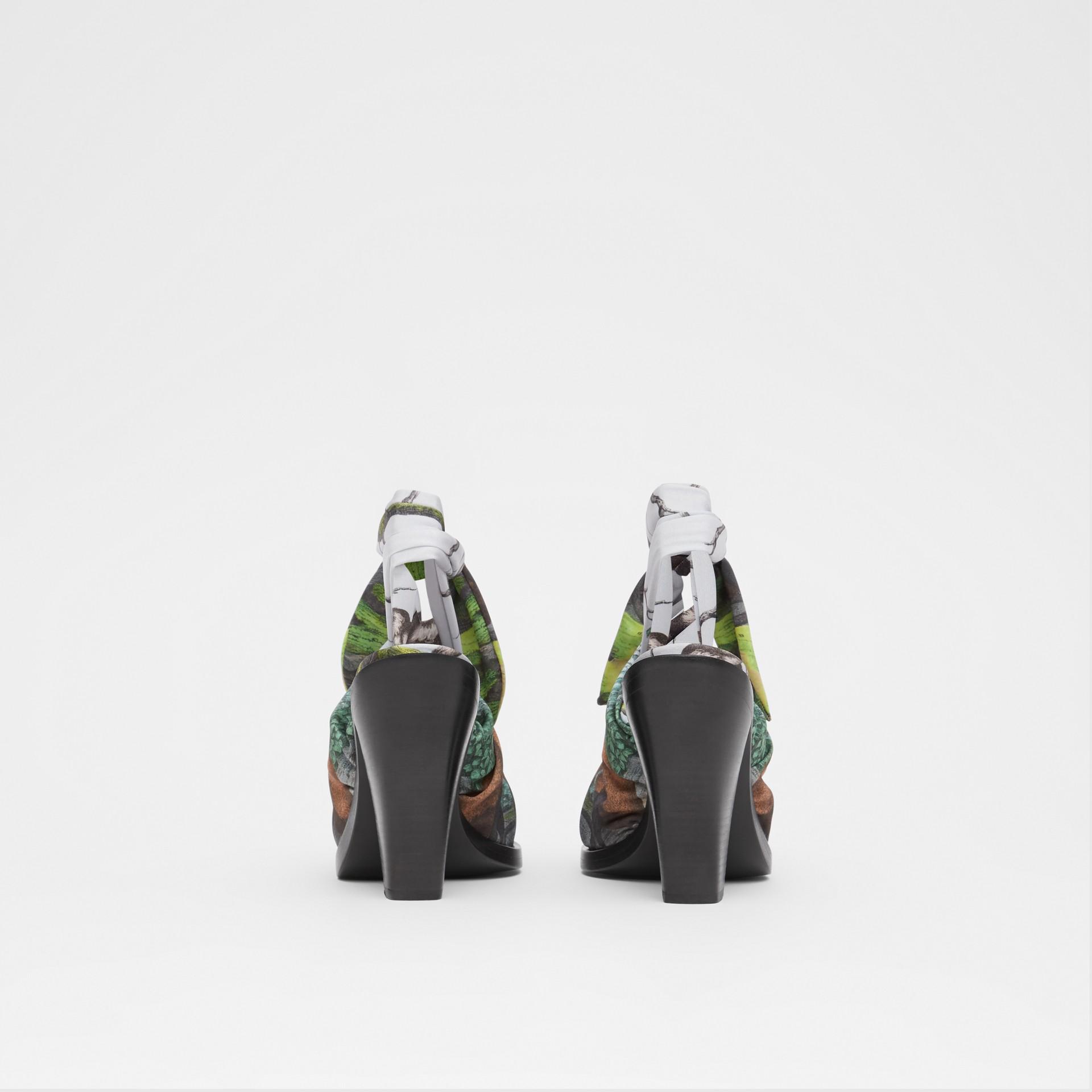 Scarf Tie Detail Monkey Print Point-toe Mules in Opal Green - Women | Burberry - gallery image 4