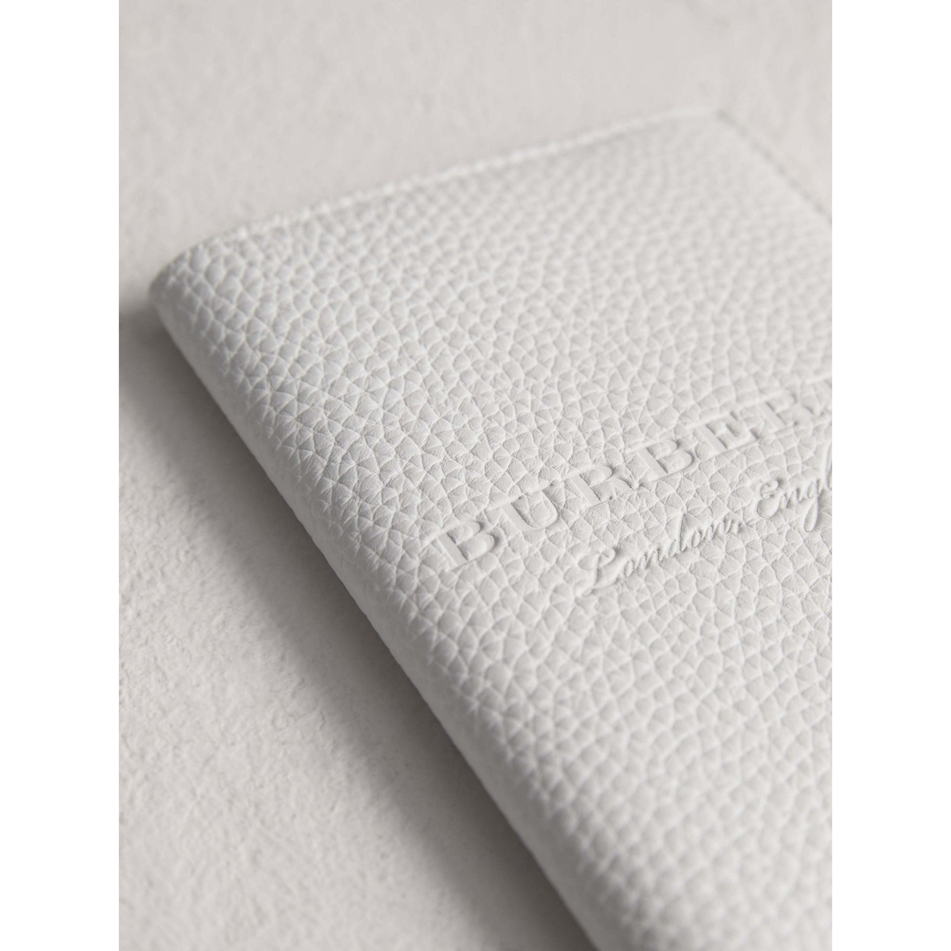 Embossed Leather Passport Holder in Chalk White | Burberry - gallery image 1