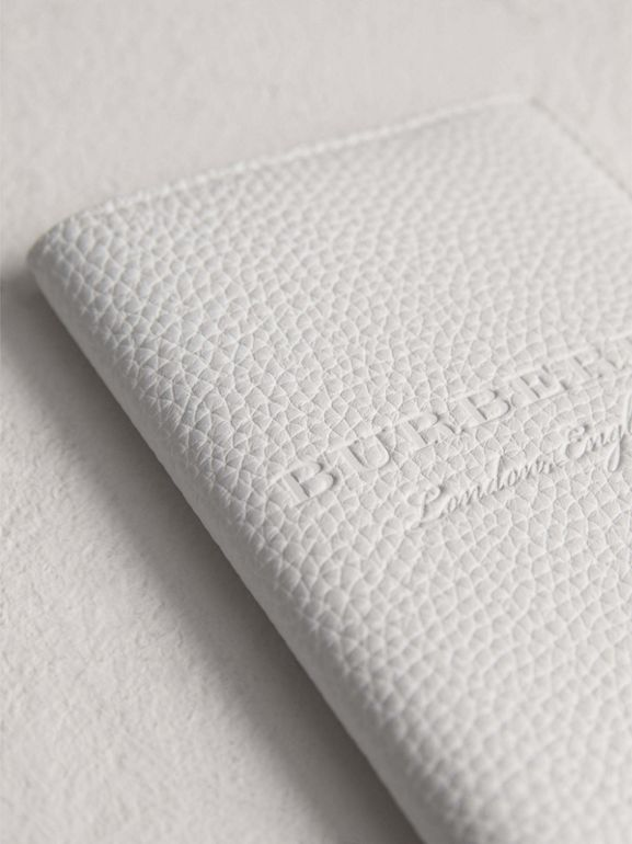 Embossed Leather Passport Holder in Chalk White | Burberry - cell image 1