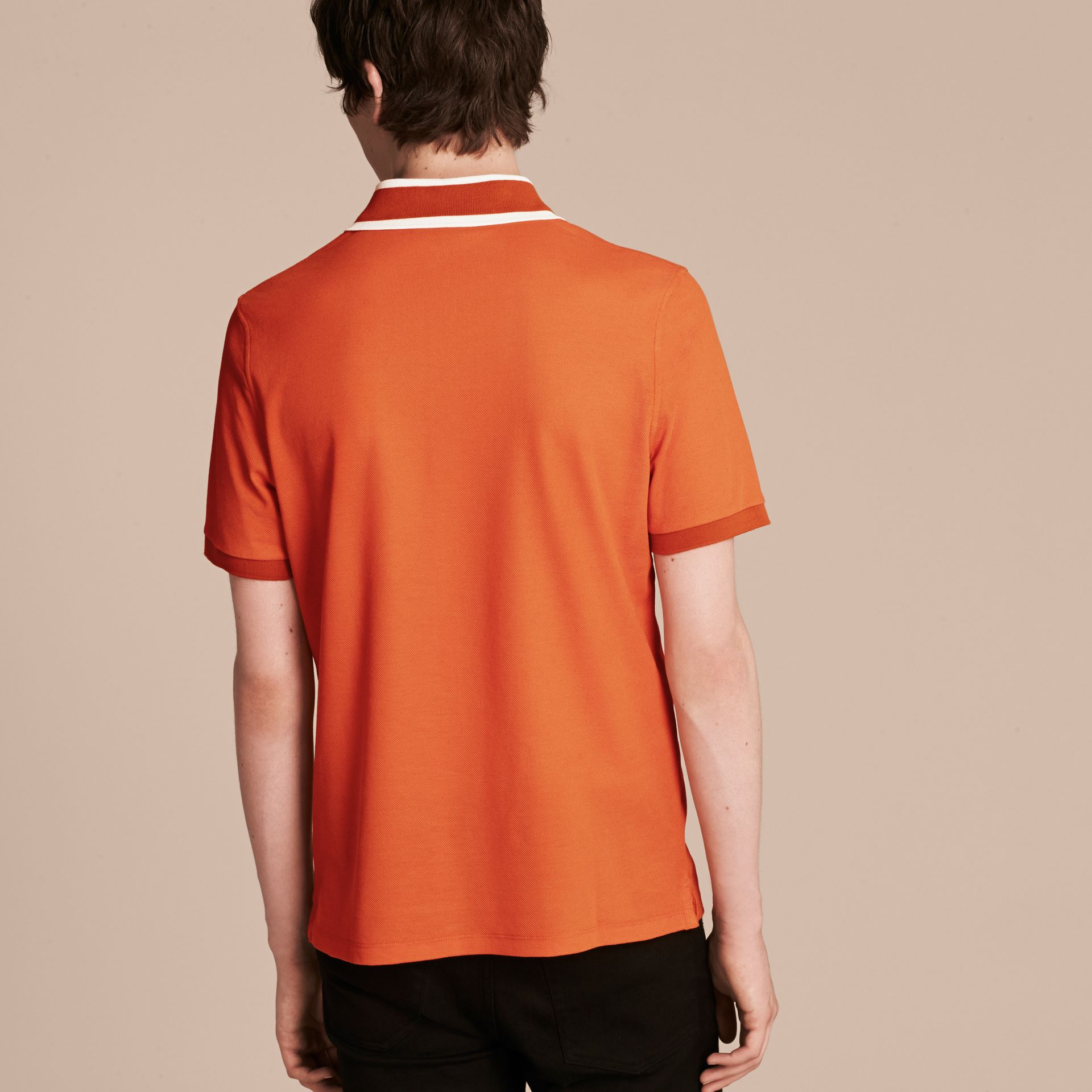 Clementine Striped Collar Cotton Piqué Polo Shirt Clementine - gallery image 3